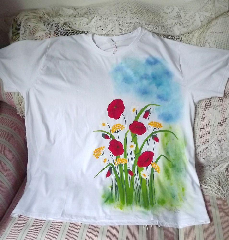 Ručně malované tričko s rozkvetlou loukou - vlčí máky, kopretiny,vratiče, nebe, velikost 4xl
