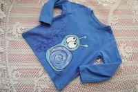 Šneček 2. ručně malovanémodré tričko s dlouhým rukávem a modrým šnečkem velikost 92