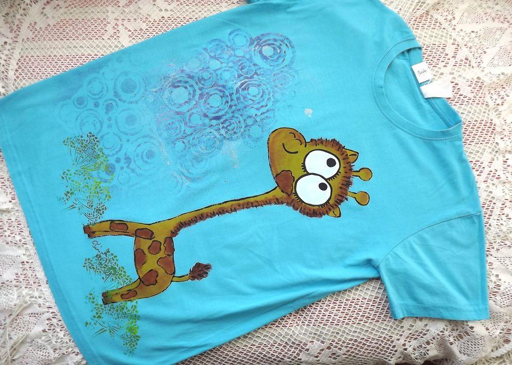 Ručně malované tričko s krátkým rukávem, tyrkysové, žirafka, velikost s