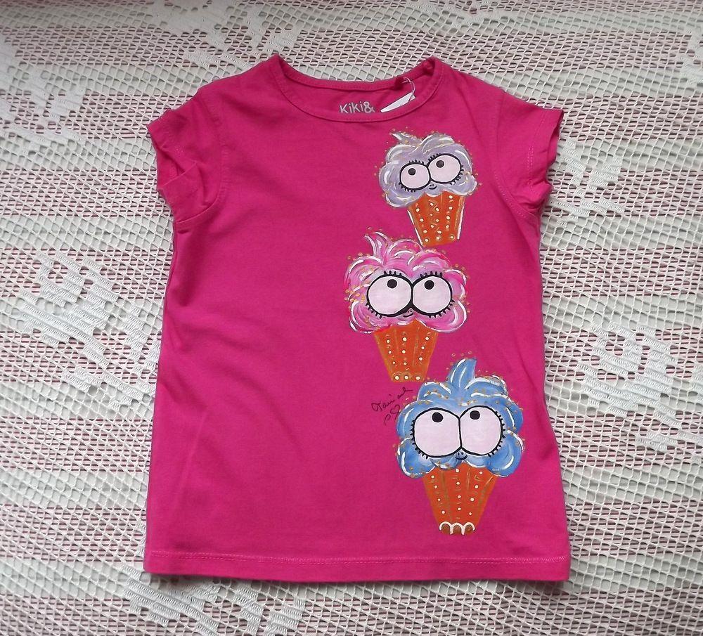 Zmrzlinky na růžovém bavlněném tričku. Ručně malované, veselé, velikost 98