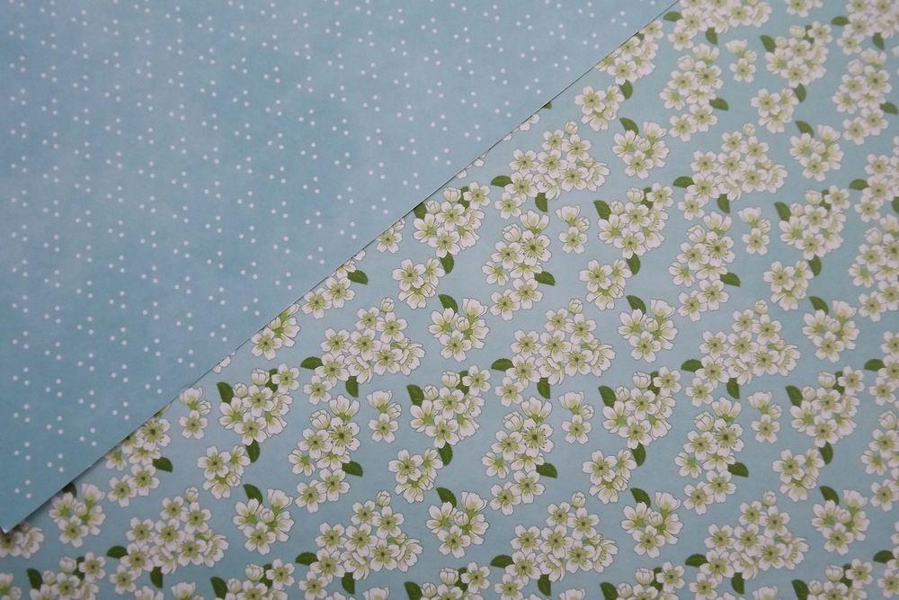 Jarní květiny na modrém - rub a líc