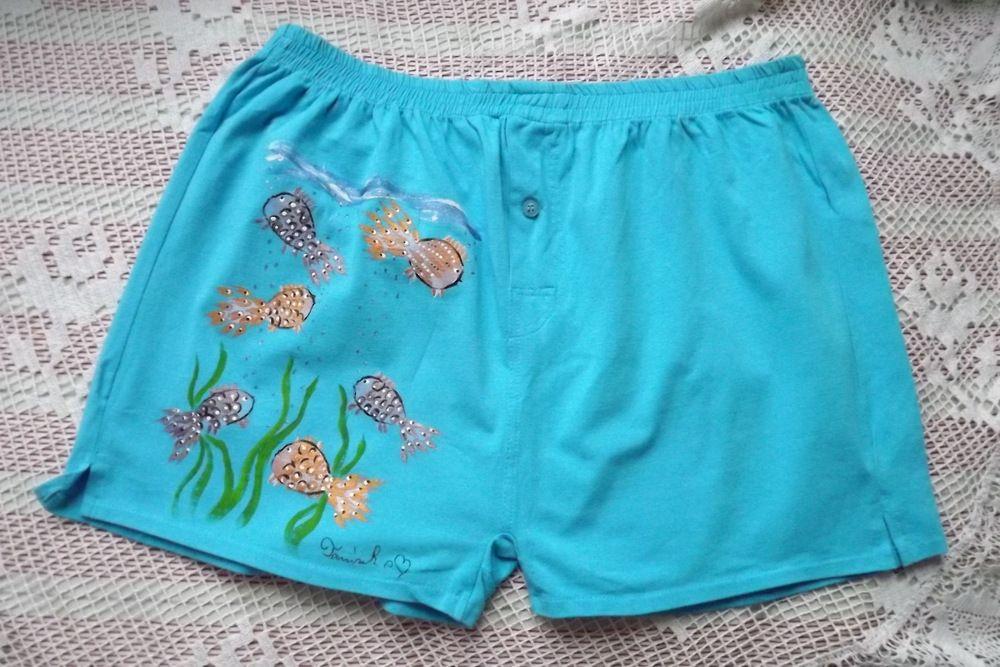 ručně malované tyrkysové trenýrky s rybičkami (akváriem) velikost L