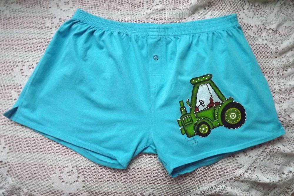 Ručně malované modré trenýrky se zeleným traktorem velikost XxL