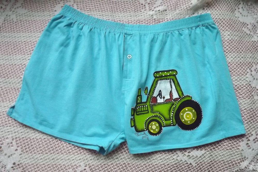 Tyrkysové trenýrky s ručně malovaným traktorem velikost XL