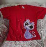 Tričko s fialovou kočkou XL
