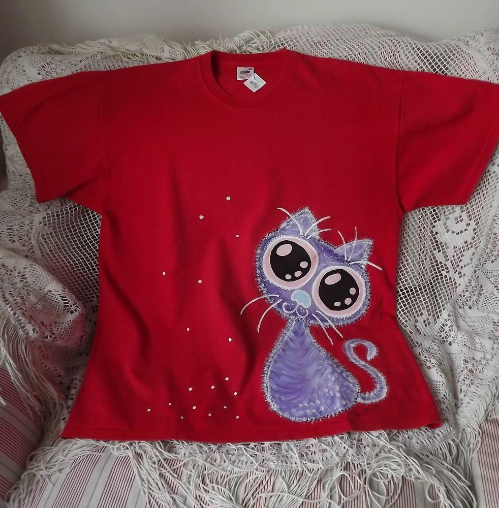 Červené vtipné tričko s chlupatou veselou kočičkou velikost xL