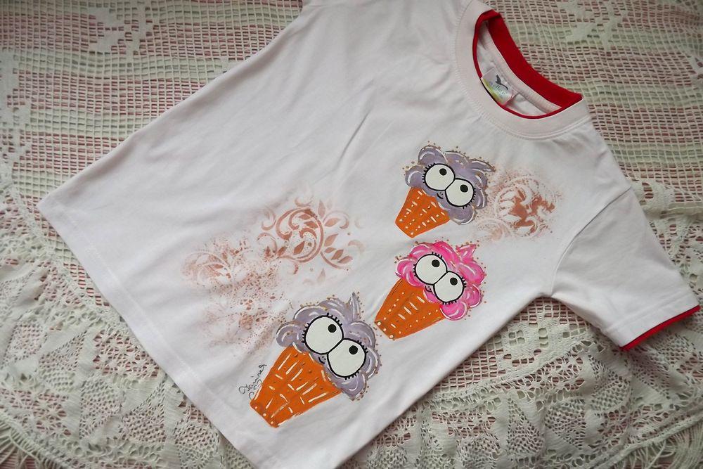 Více fialové Veselé zmrzlinky - bílé bavlněné tričko s krátkým rukávem a vrstveným efektem - velikost 128