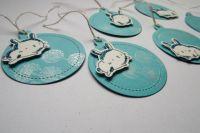 Visačka na dárky modrá s králíčkem - modrým třpytivým sada 6ks