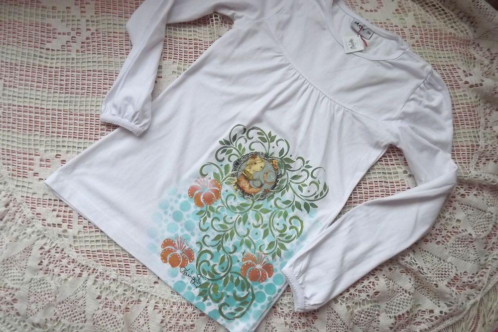 Santoro mořská panna aplikace na bílém bavlněném tričku s dlouhým rukávem velikost 128