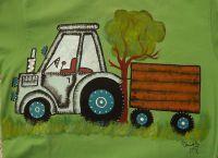 Ručně malované zelené tričko s krátkým rukávem, 100% bavlna, modrý traktor s valníkem
