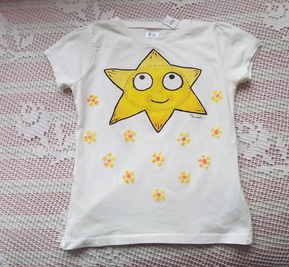 Krémové tričko s veselým malovaným sluníčkem - bavlna, velikost 122