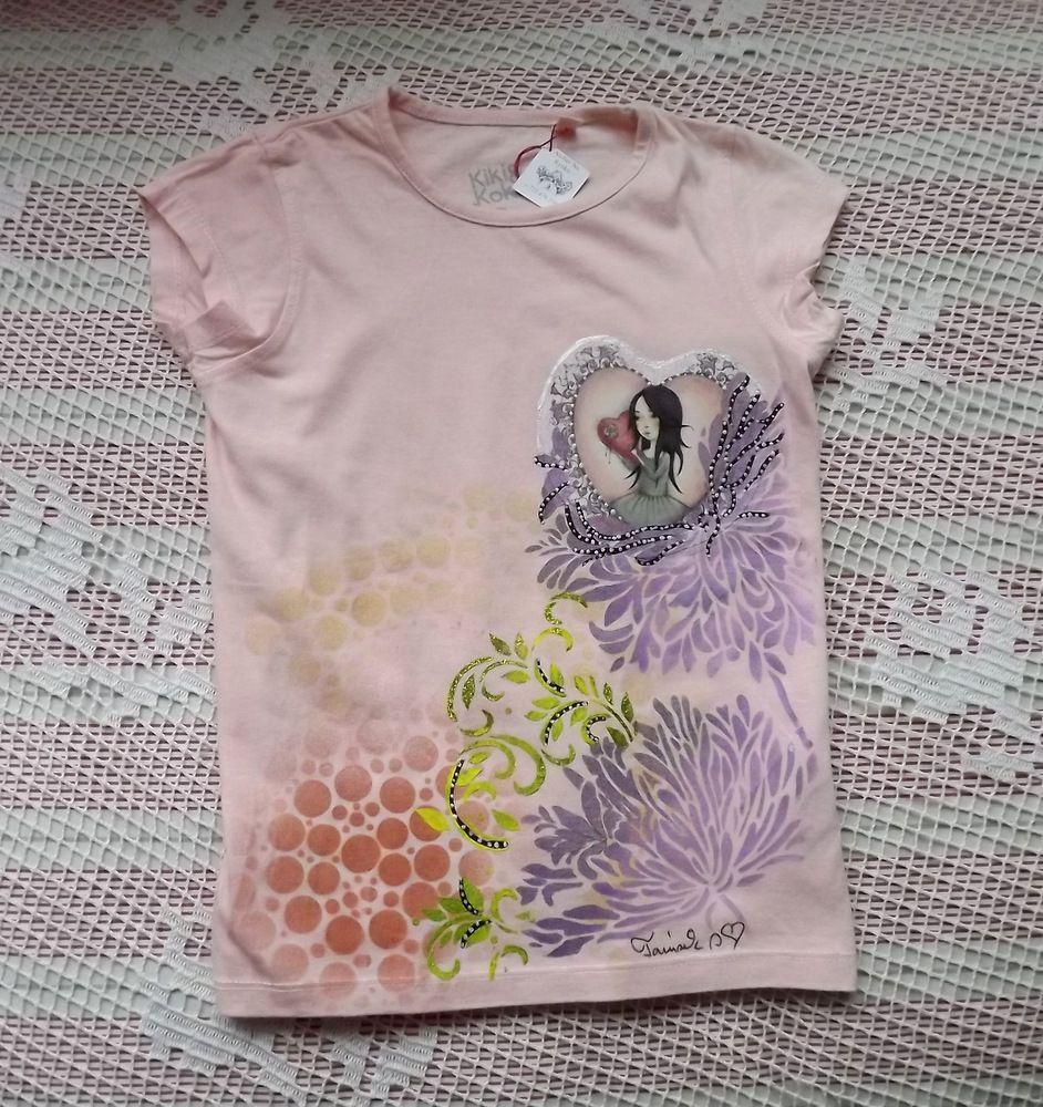 Dívka se srdíčkem - ručně dekorované tričko se santoro panenkou, velikost 110