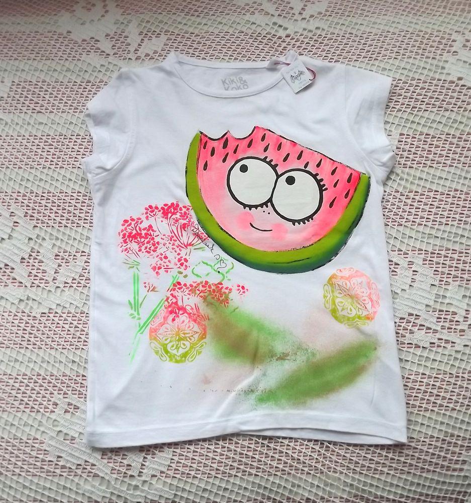 Veselý šťavnatý meloun na bílém bavlněném tričku. Ručně malovaný, velikost 116