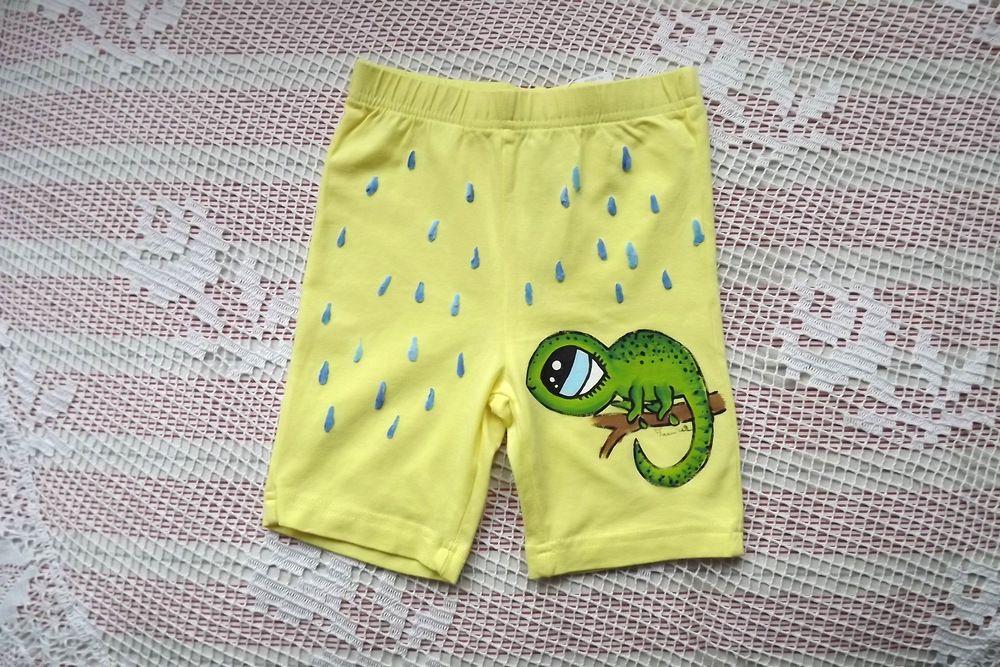 Bavlněné žluté kraťásky se zeleným chameleonem a modrými kapičkami deště velikost 110