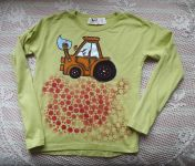 Zelené tričko s bagrem - ručně malované s dlouhým rukávem, bavlněné velikost 140