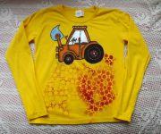 Žluté tričko 1  bagrem - ručně malované s dlouhým rukávem, bavlněné velikost 140