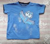 Netopýr 2. ručně malované modré bavlněné triko s vrstveným efektem u krku a rukávů velikost 116