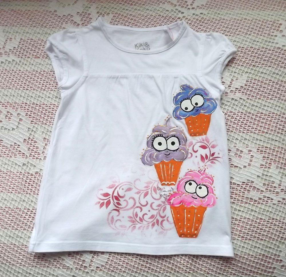 Bílé tričko - Barevné sladké zmrzlinky - veselé originální ručně malované bavlněné tričko s krátkým rukávem velikost 110, šířka 2x33cm,délka 44cm
