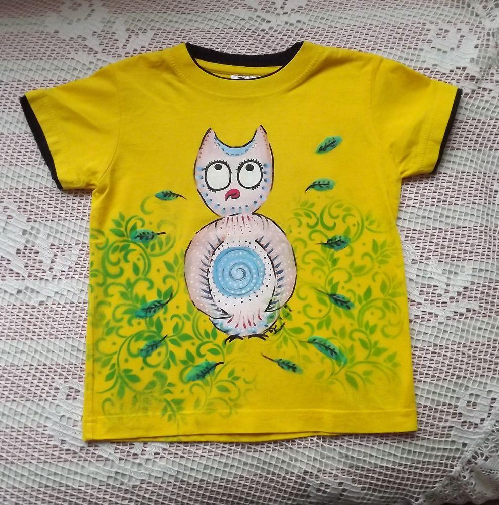 Perníková ručně malovaná sova na žlutém bavlněném tričku s vrstveným efektem a krátkým rukávem - velikost 116