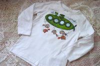 Ponorka 1. ručně malované bílé bavlněné tričko se zelenou ponorkou a zlatými rybami velikost 110