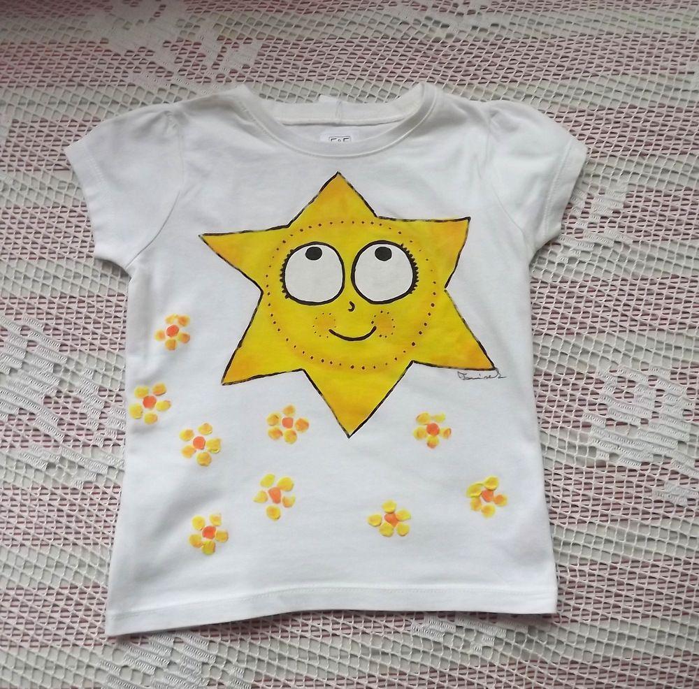 Smetanové tričko s ručně malovaný veselým sluníčkem, které prozáří den vaší holčičky. velikost 98