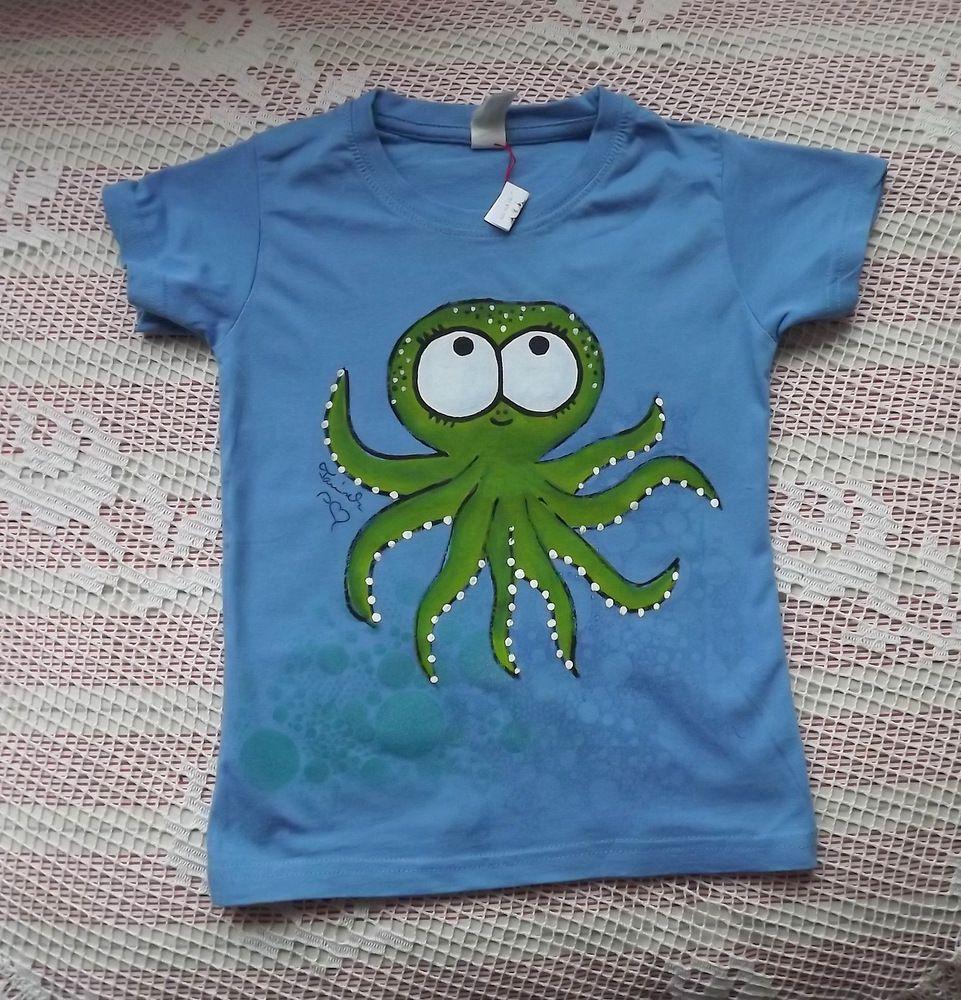 Veselá zelená chobotnice na modré tričku s krátkým rukávem velikost 110
