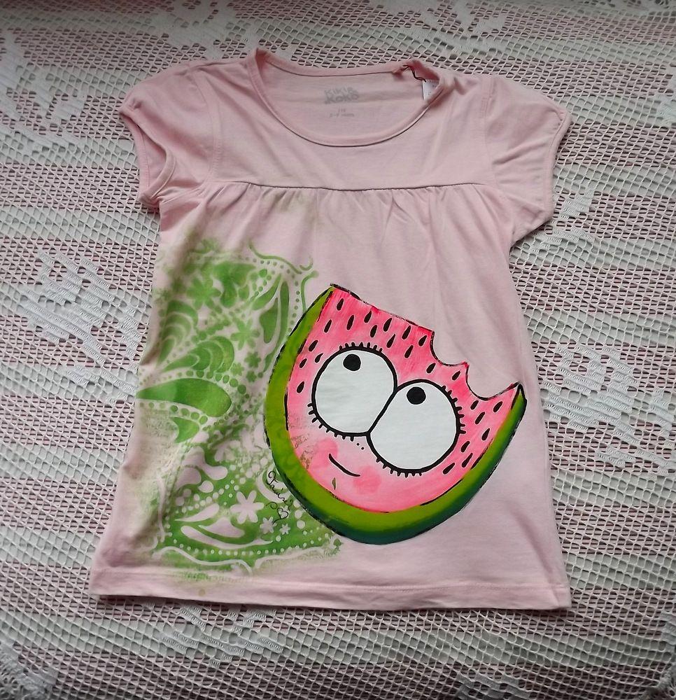 Šťavnatý melouna na růžovém nabíraném tričku velikost 116