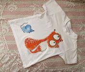 S jednou myškou - bílé bavlněné tričko s krátkými rukávy, ručně malované liška a myška