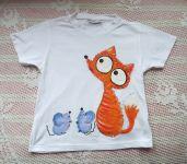 Se dvěma myškami - bílé bavlněné tričko s krátkými rukávy, ručně malované liška a myška