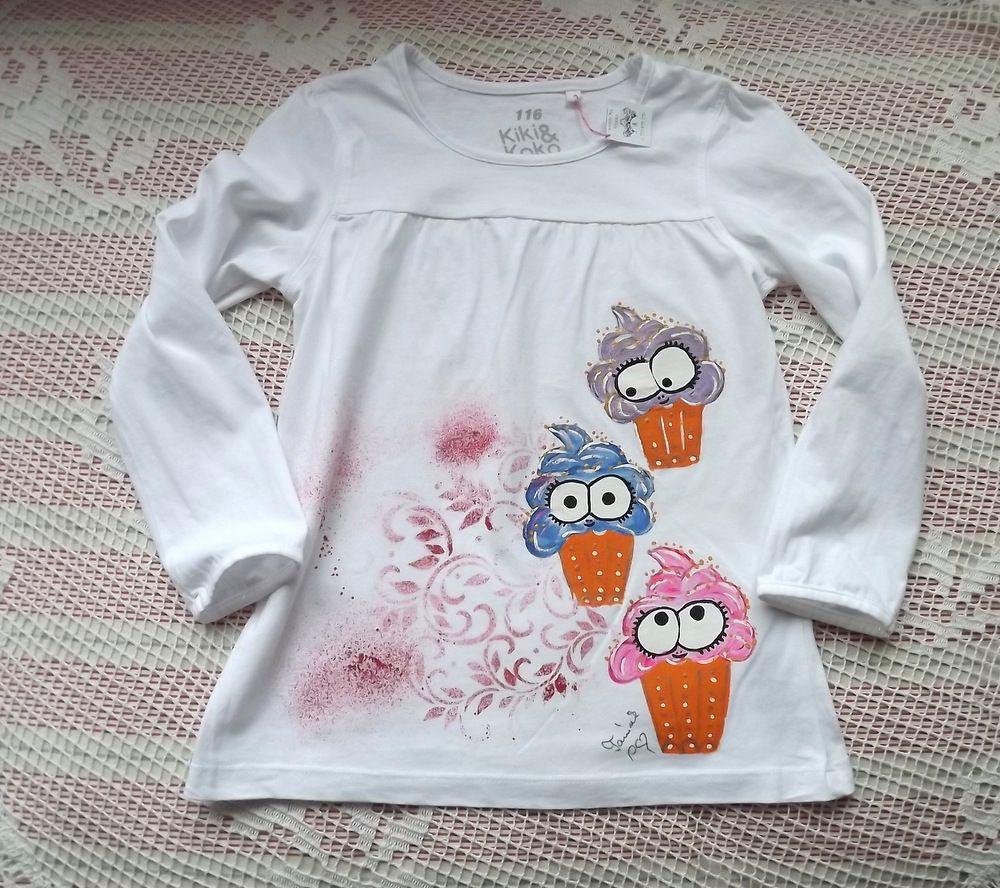 bílé tričko s dlouhými rukávy a namalovanými třema veselými zmrzlinkami velikost 116