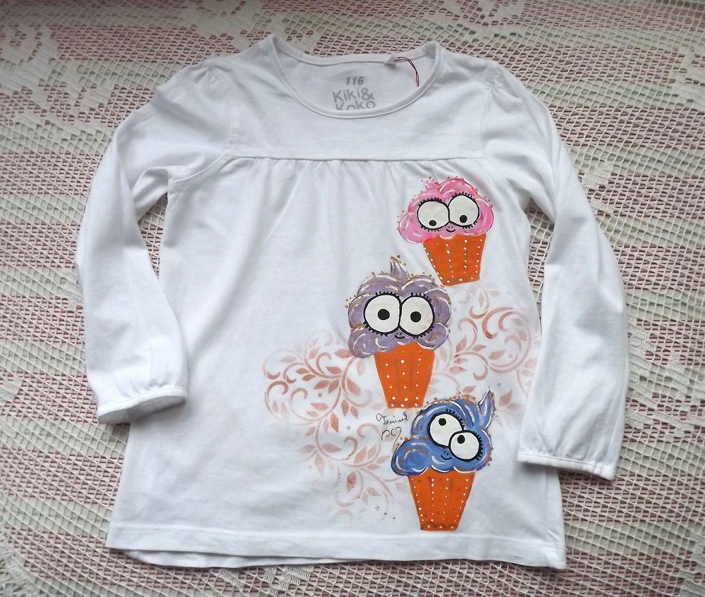 Zmrzlinky nad sebou - veselé originální ručně malované bavlněné tričko s dlouhým rukávem velikost 110