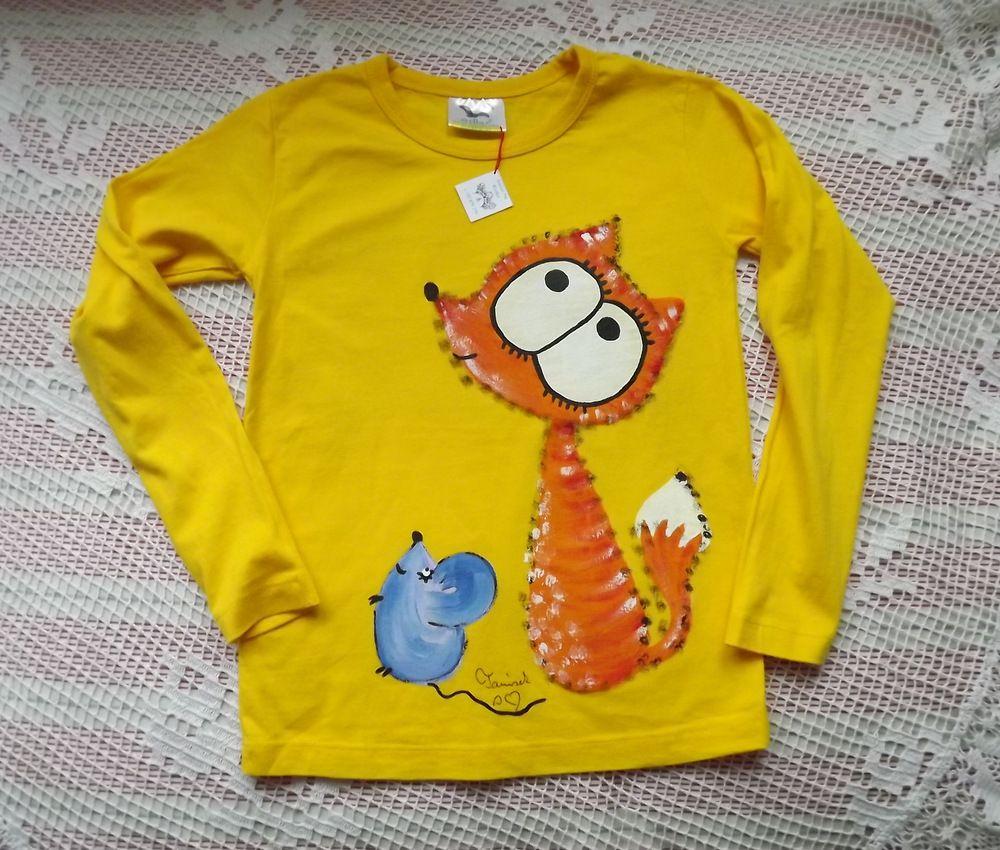 Žluté veselé bavlněné tričko s ručně malovanou liškou a myškou - velikost 116,dlouhý rukáv