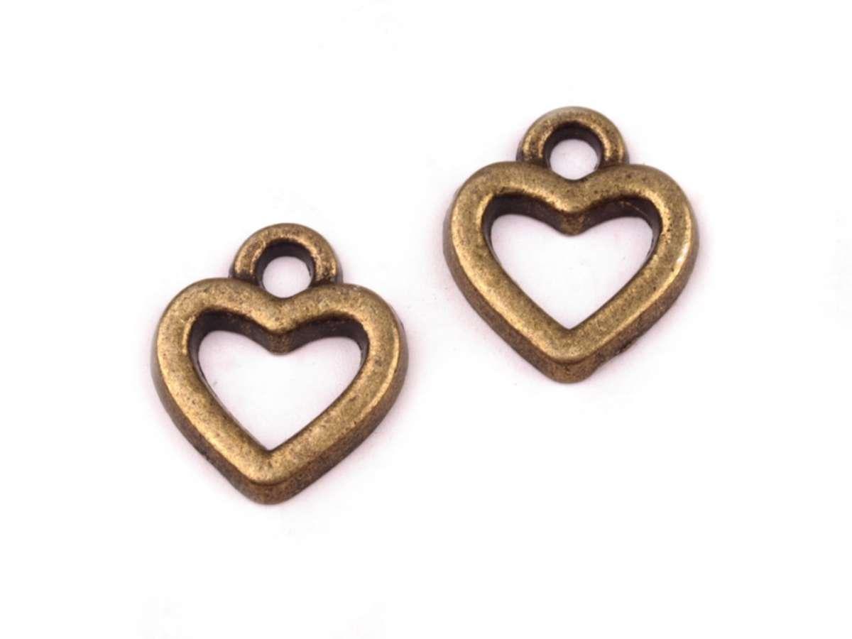 Srdíčko - přívěsek - staromosaz - kov, vintage, výroba šperků, cardmaking, starobylý