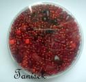 Červená tmavá směs v krabičce - skleněné korálky - rokajl, trubičky, mačkané korálky, kytičky, tón v tónu, lesklé, matné, průhledné, neprůhledné