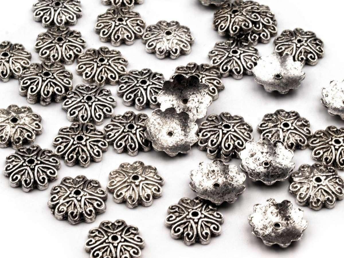 Kaplík srdíčka - platina - bižuterní kov, tibetské stříbro, výroba šperků, dekorací, zdobení korálků,