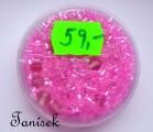 Růžová směs v krabičce - skleněné korálky - průhledné, rokajl, trubičky, mačkané korálky, kuličky
