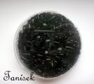 Černá směs v krabičce - skleněné korálky - černé, rokajl, trubičky, neprůhledné, mačkané korálky,hvězdičky, oválky