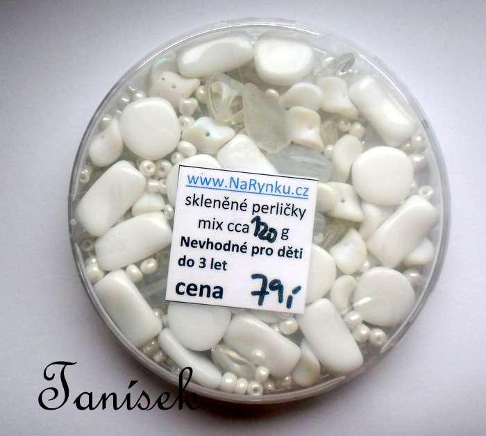 Bílá směs v krabičce - skleněné korálky - rokajl, trubičky, mačkané korálky, lesklé, amtné, průhledné, neprůhledné