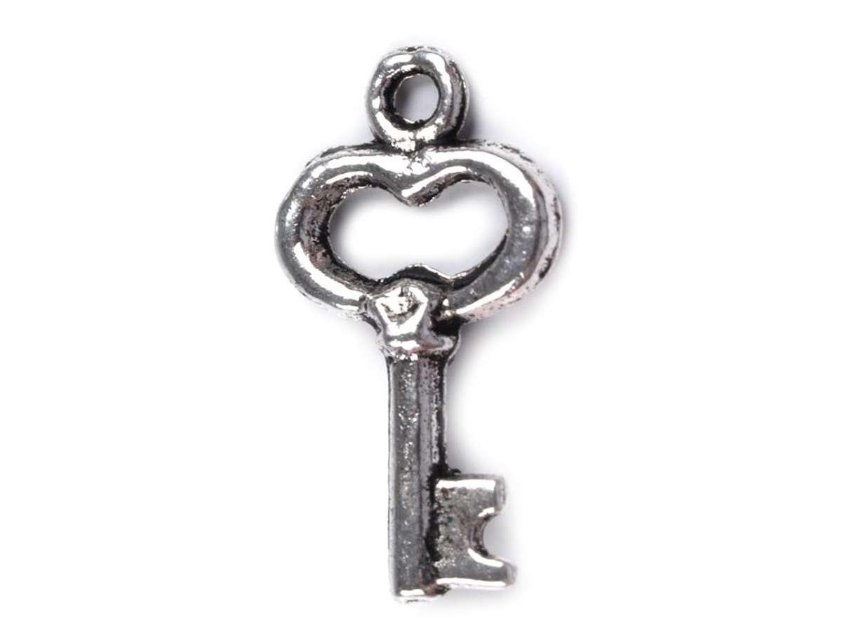 Klíček přívěsek - platina - kov, srdce, srdíčko, výroba šperků, scrapbook, cardmaking
