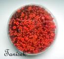 Světle červená směs v krabičce - skleněné korálky - lesklé, matné, průhledné, neprůhledné, rokajl, kostičky, mačkané korálky, disky, placičky