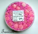 Růžová směs v krabičce - skleněné korálky - průhledné, neprůhledné, lesklé, matné, rokajl, čtverečky, kytičky
