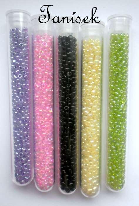 Sada rokajlových korálků v platových zkumavkách - černá neprůhledná matná, růžová s listrem průhledná, zelená, fialová, žlutá
