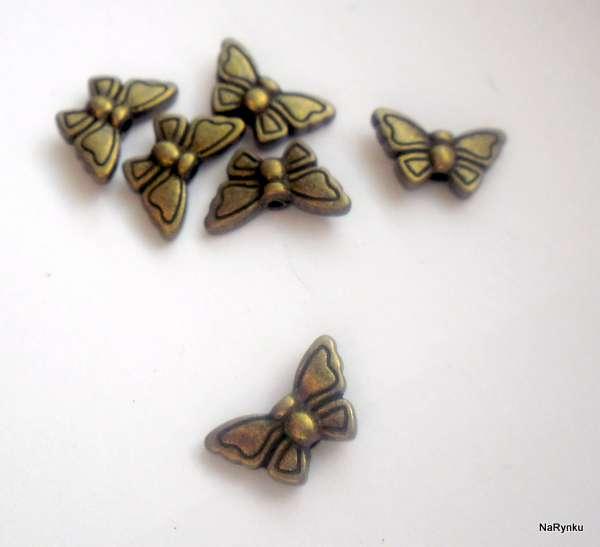 Motýl - korálek - kov, staromosaz, vintage, kovový, starobylý, výroba šperků, přívěsků,