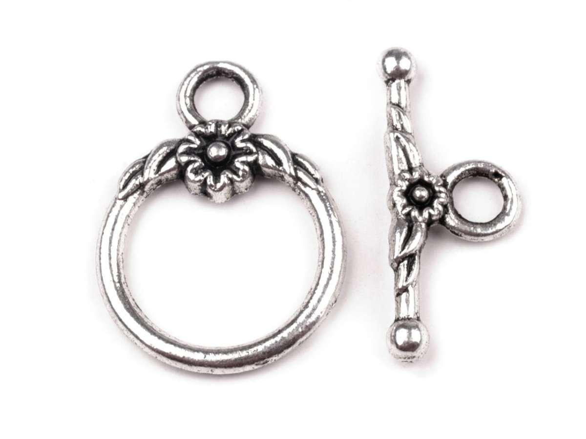 Americké zapínání s kytičkou - platina - bižuterní kov, vhodný pro výrobu šperků, náramků, naušnice,