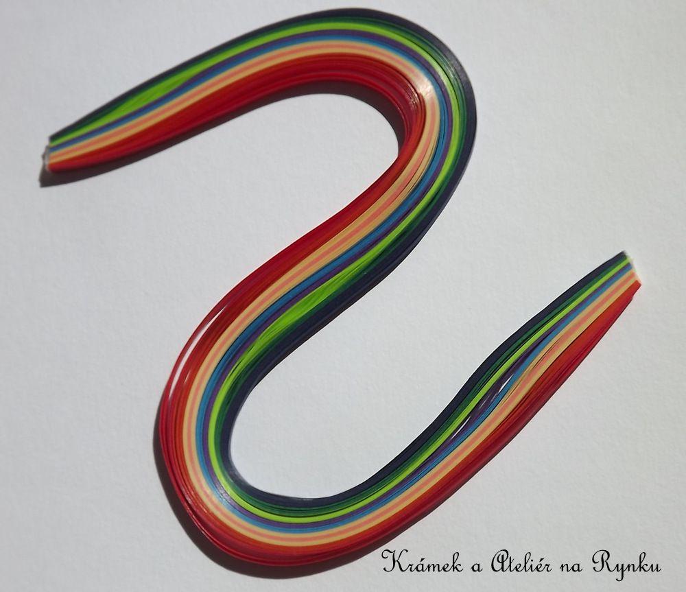 Papírové proužky na quiling 3mm šířka, 100ks - syté barvy - červená, žlutá, oranžová, modrá, fialová, zelená, černá, růžová