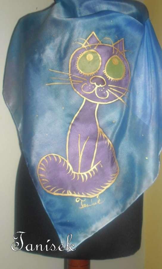 """Ručně malovaný hedvábný šátek s ležící, spící kočkou v barvách noční oblohy Veronika """"Tanísek"""" Kocková"""