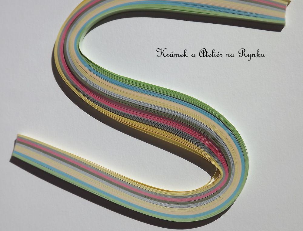 Papírové proužky na quiling 3mm šířka, 100ks - pastelové, červená, modrá, žlutá, šedá, šedomodrá, zelená