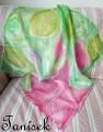 """Hedvábný šátek ručně malovaný s růžovým ibiškem Veronika """"Tanísek"""" Kocková"""