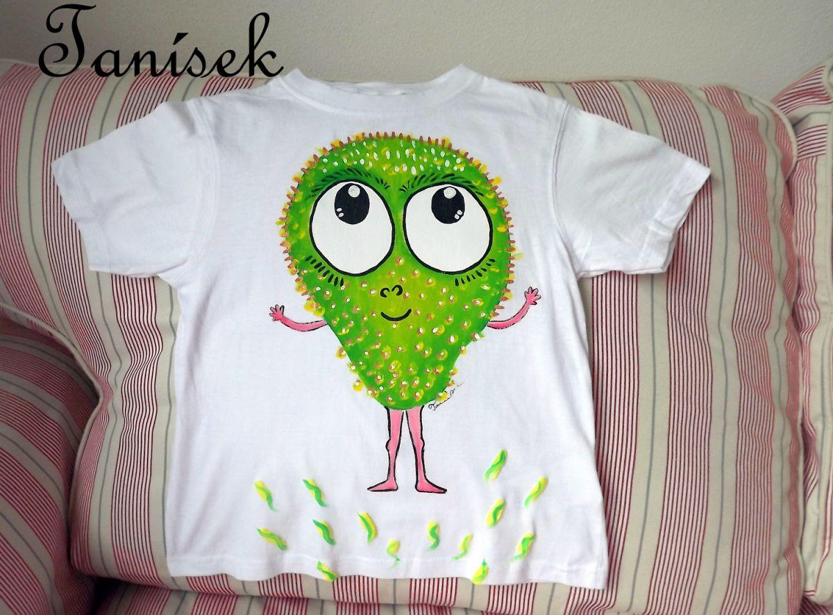 """Zelená příšerka - ručně malované bílé 100% bavlněné tričko - velikost 116 Veronika """"Tanísek"""" Kocková"""