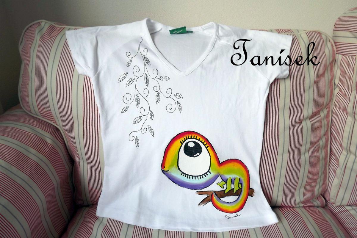 """Chameleon duhový - bílé tričko 100% bavlna, ručně malované vel. S Veronika """"Tanísek"""" Kocková"""